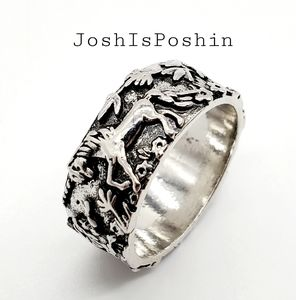 Silver nature engraved rabbit ring size 9.5